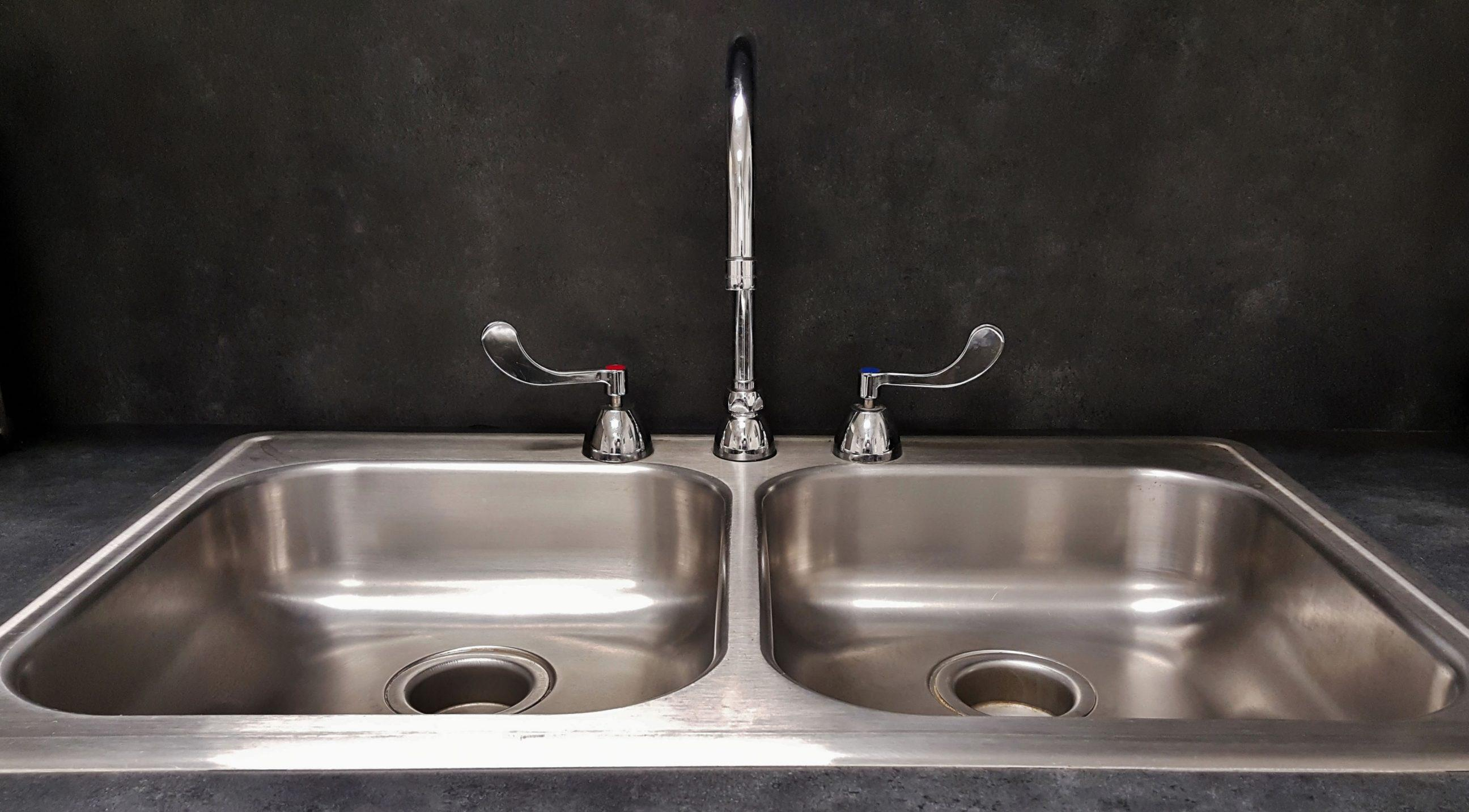 Double basin kitchen sink