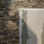 Glass tile shower wall