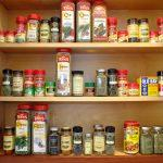 Spices on shelves