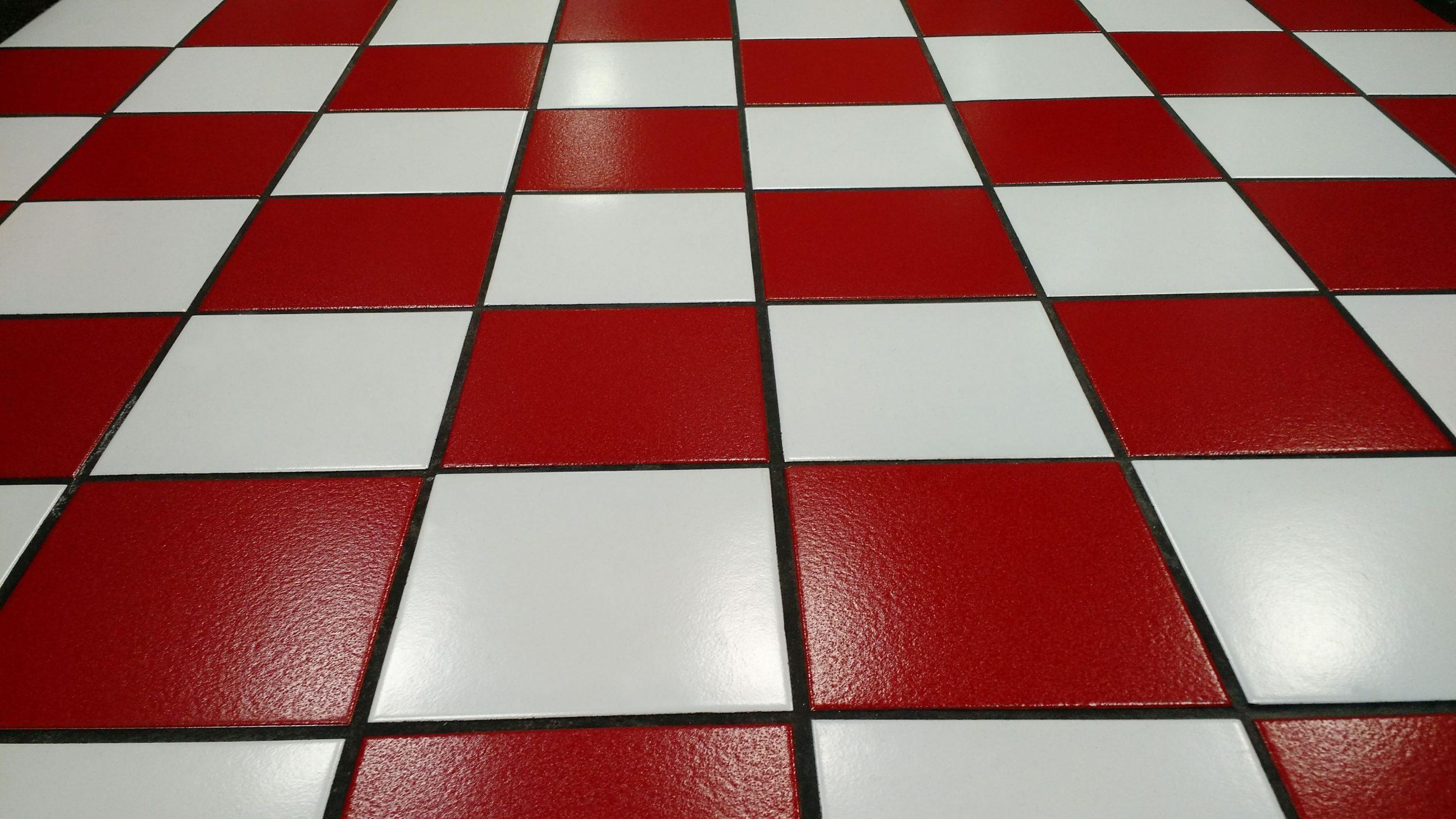 Red and White Tiled Floor