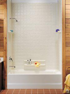 Fiberglass shower walls.