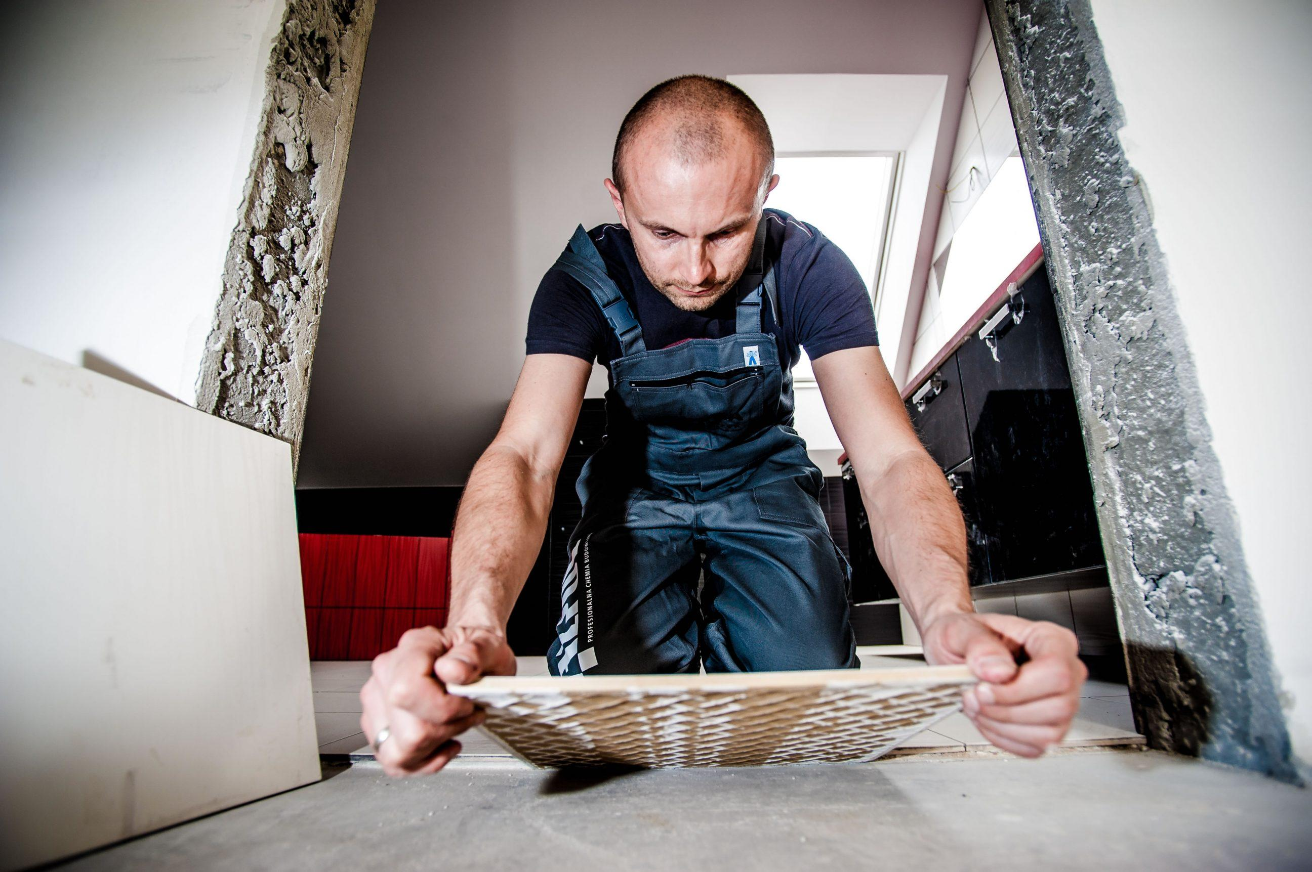 Installing tiles on floor